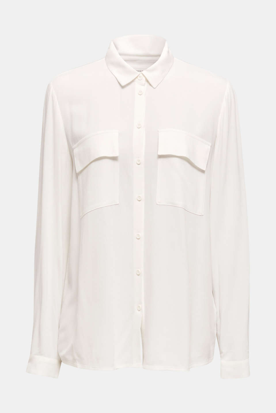 Shirt blouse made of fine crêpe, OFF WHITE, detail image number 6
