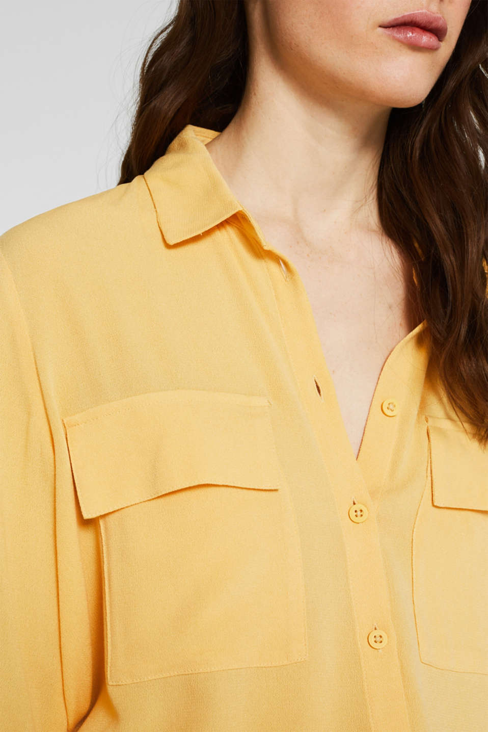 Shirt blouse made of fine crêpe, YELLOW, detail image number 2
