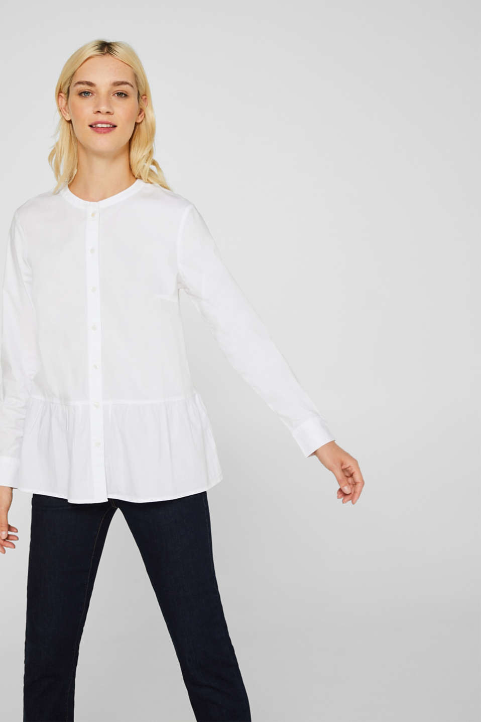 Esprit - Stretch blouse with a flounce hem