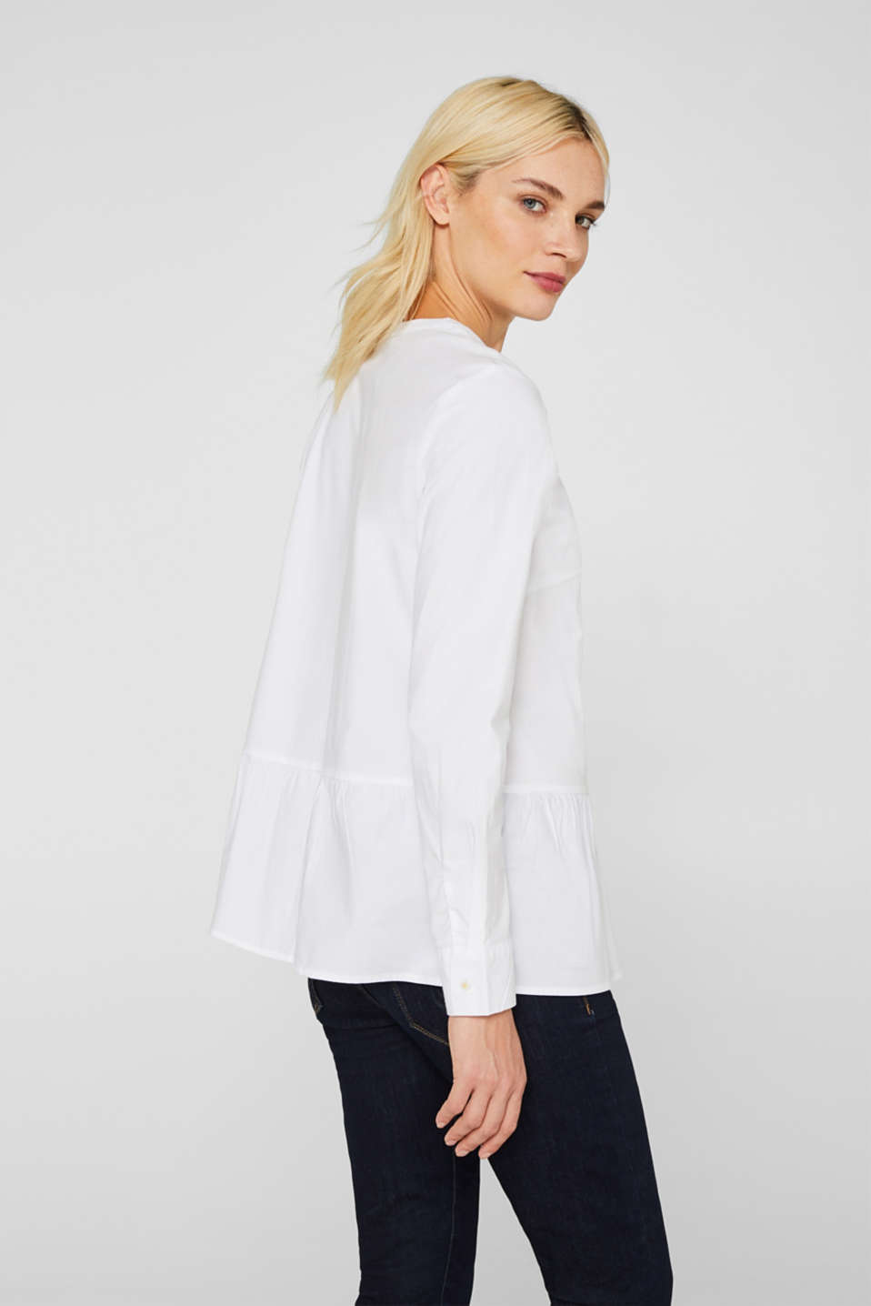 Stretch blouse with a flounce hem, WHITE, detail image number 2