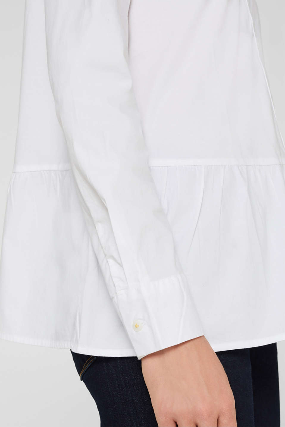 Stretch blouse with a flounce hem, WHITE, detail image number 1