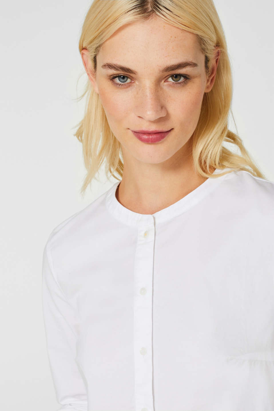 Stretch blouse with a flounce hem, WHITE, detail image number 4