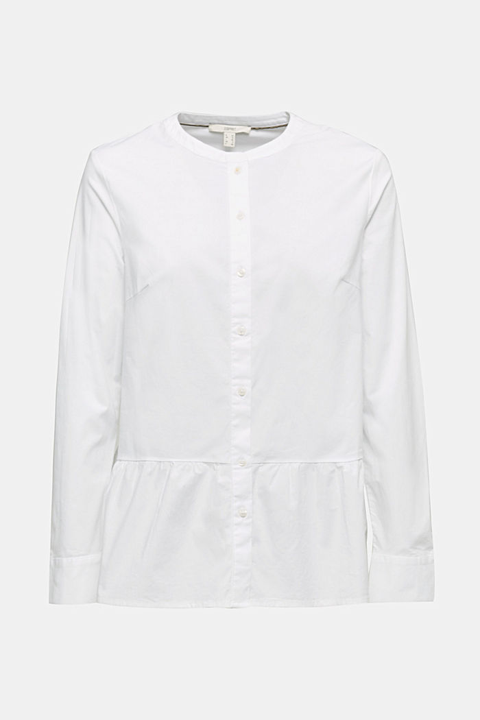 Stretch blouse with a flounce hem, WHITE, detail image number 0