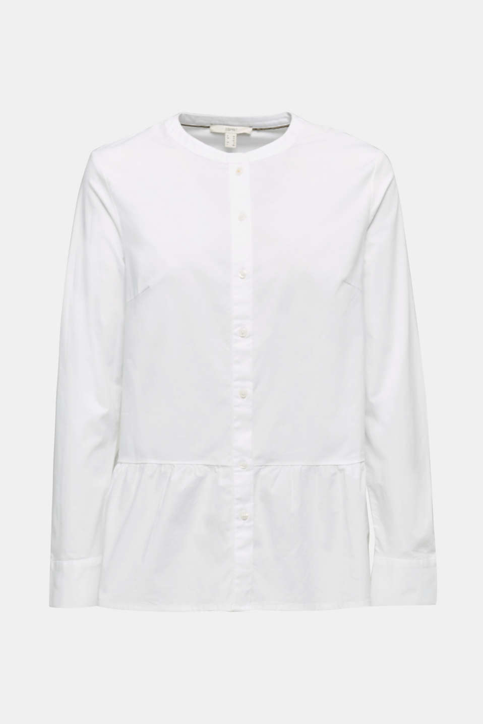 Stretch blouse with a flounce hem, WHITE, detail image number 5