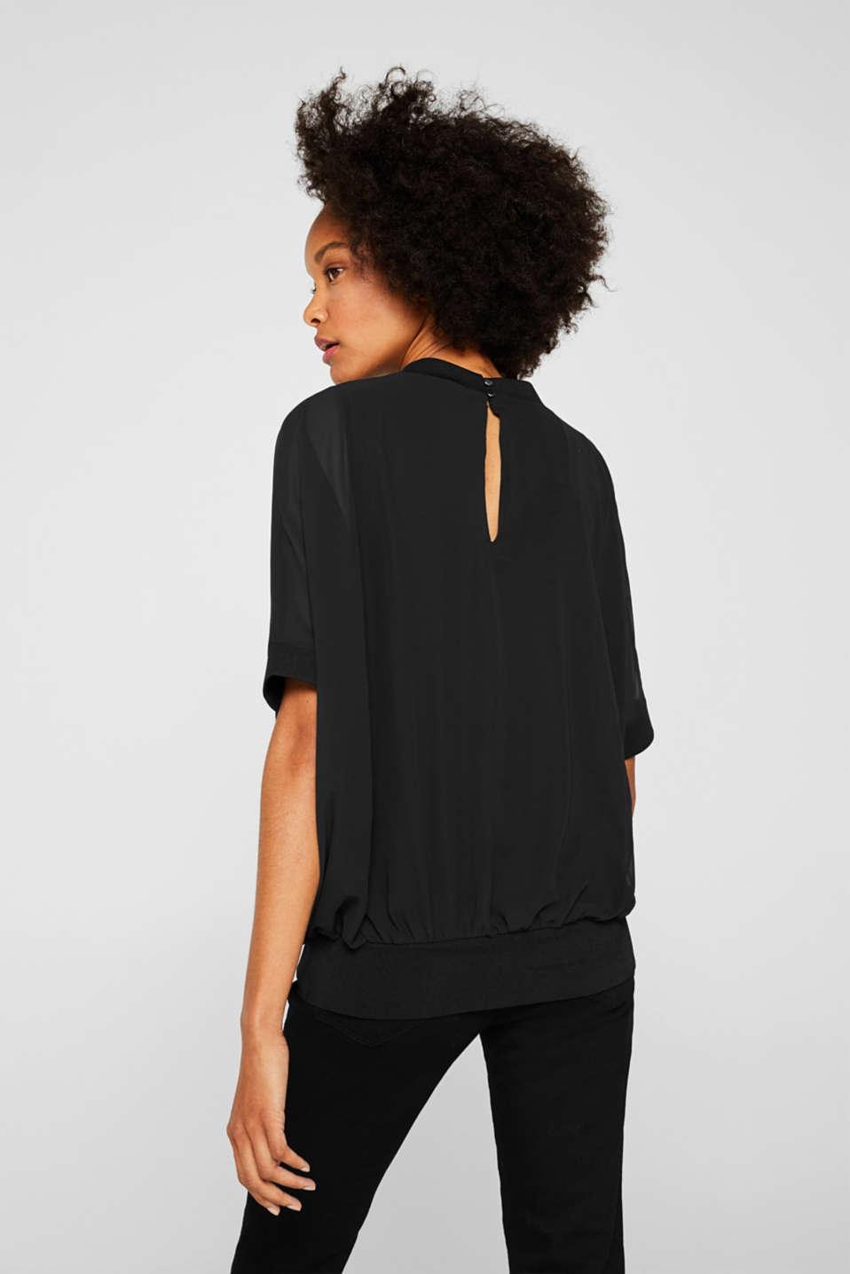 Batwing chiffon blouse, BLACK, detail image number 3