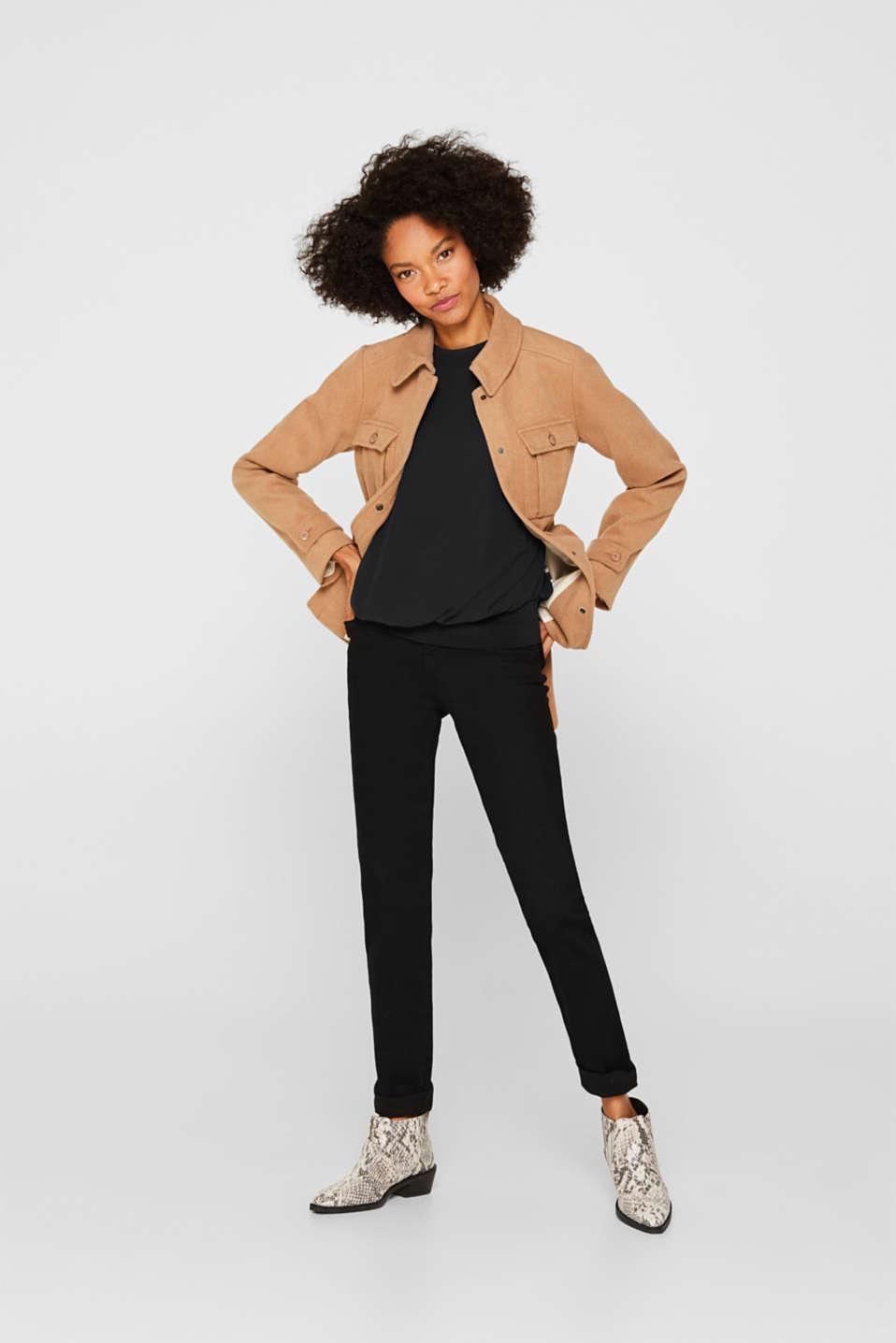 Batwing chiffon blouse, BLACK, detail image number 1