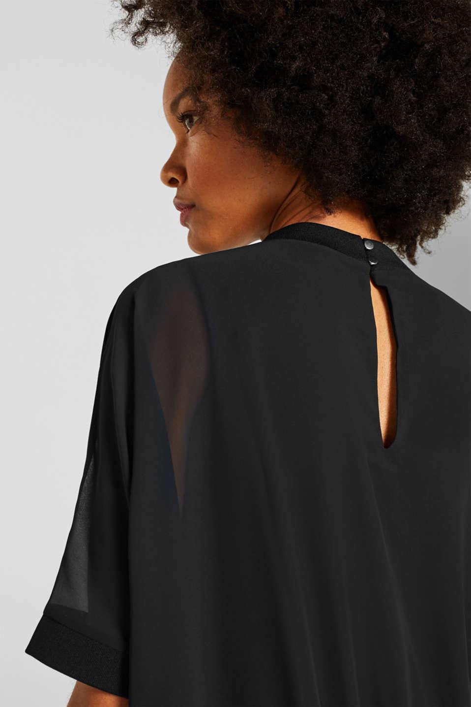 Batwing chiffon blouse, BLACK, detail image number 2
