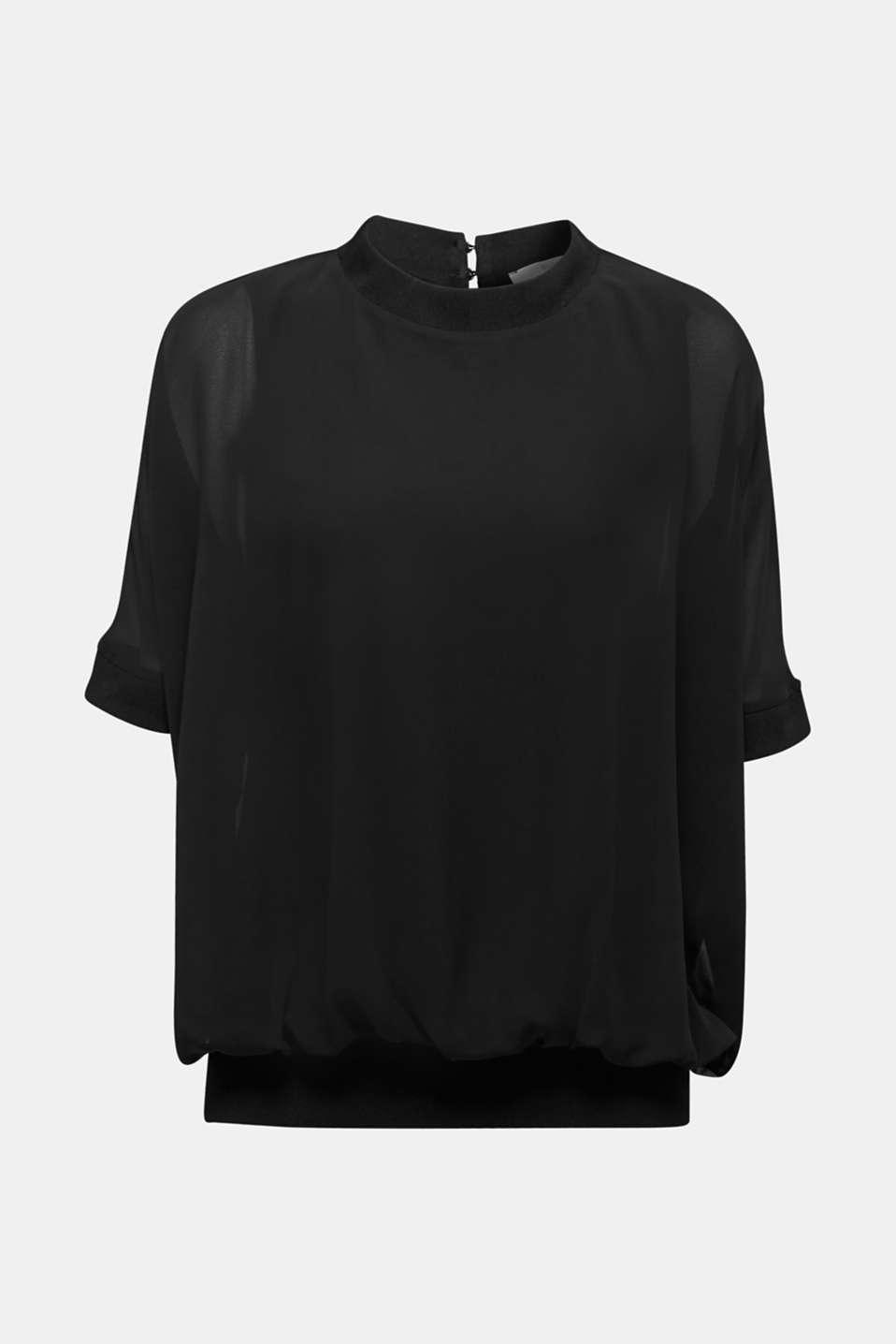 Batwing chiffon blouse, BLACK, detail image number 5