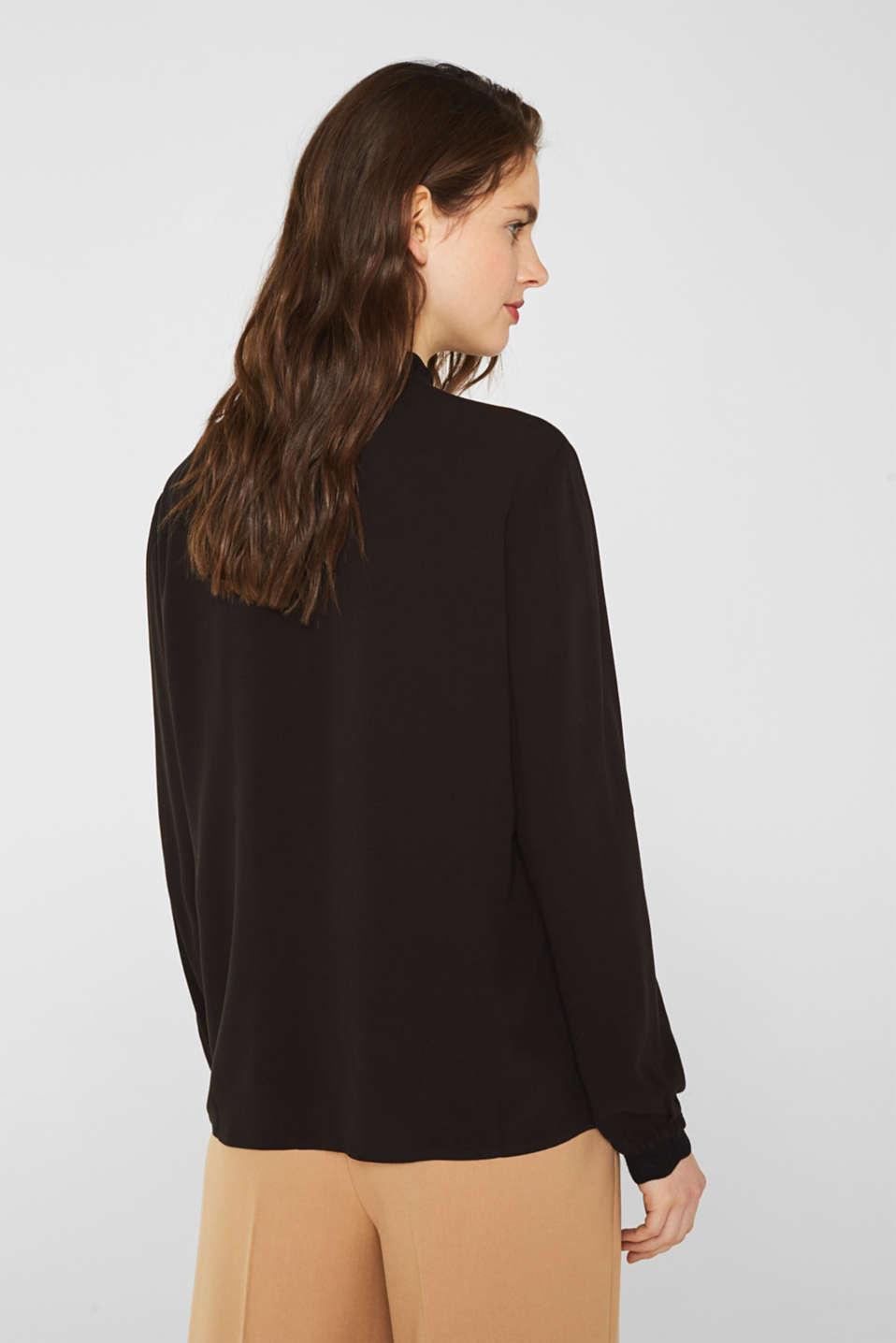 Crêpe blouse with openwork details, BLACK, detail image number 3