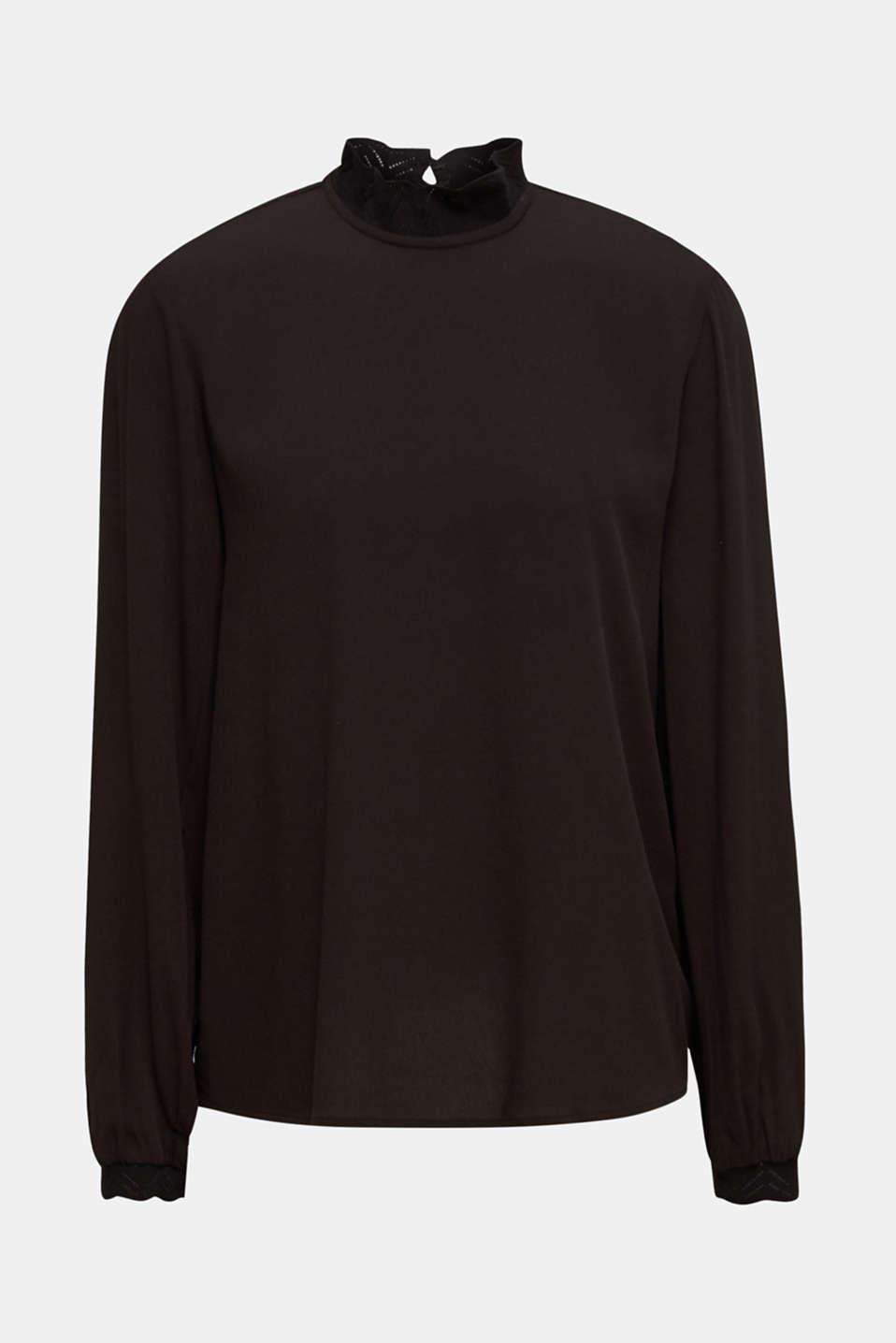 Crêpe blouse with openwork details, BLACK, detail image number 4
