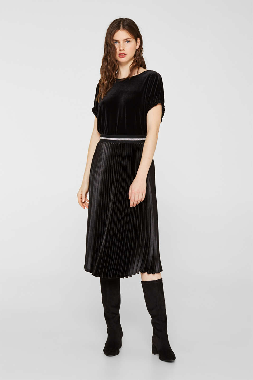 Blouse top made of stretch velvet, BLACK, detail image number 1