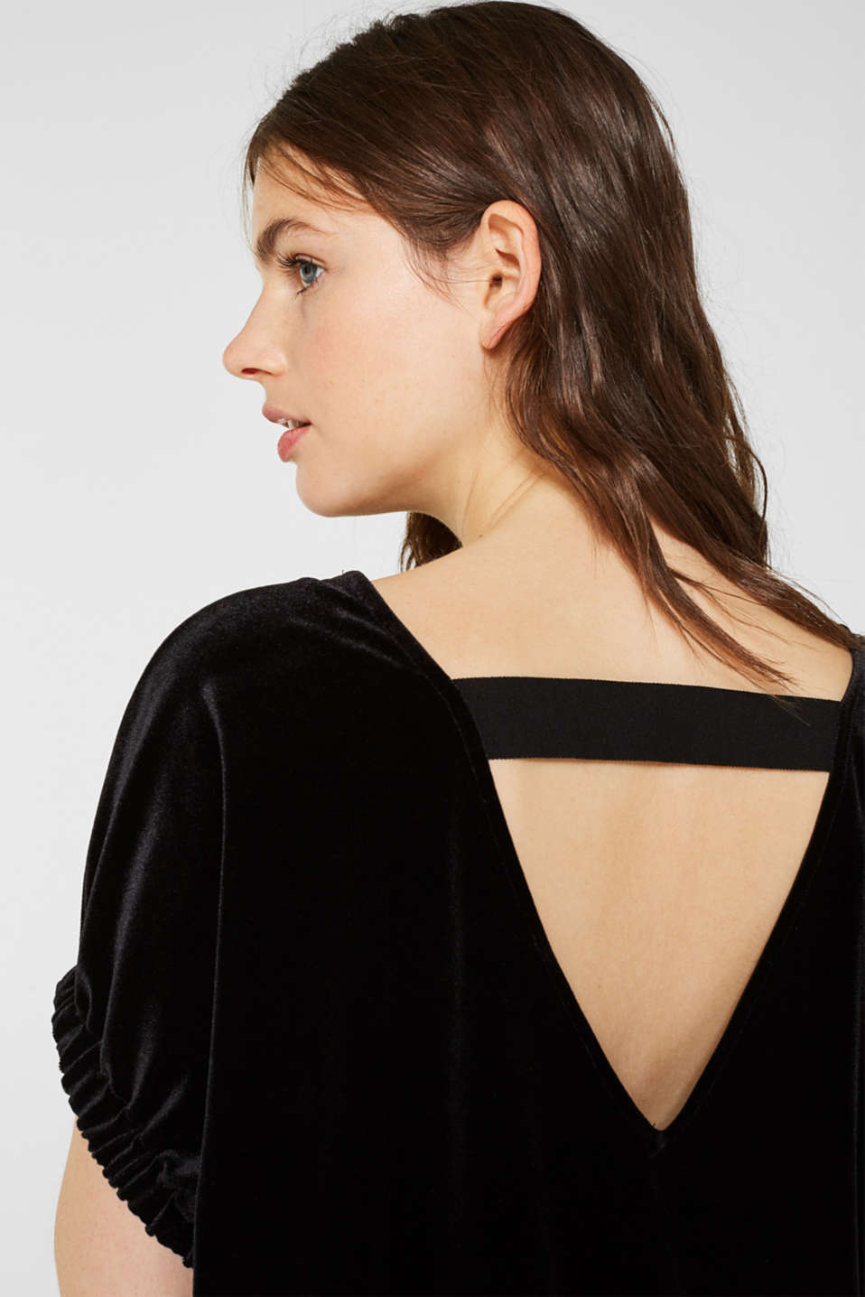 Blouse top made of stretch velvet, BLACK, detail image number 2