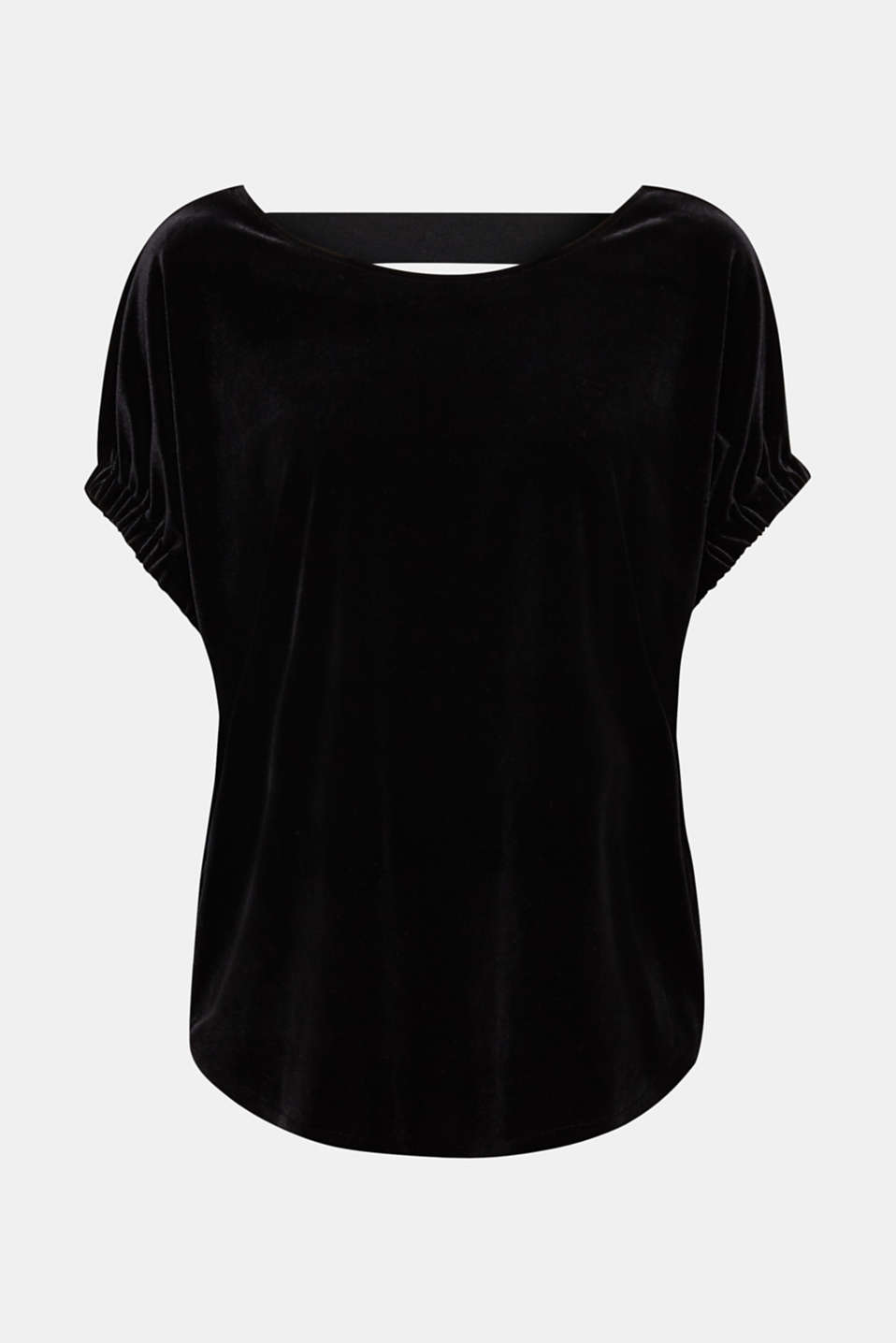 Blouse top made of stretch velvet, BLACK, detail image number 5