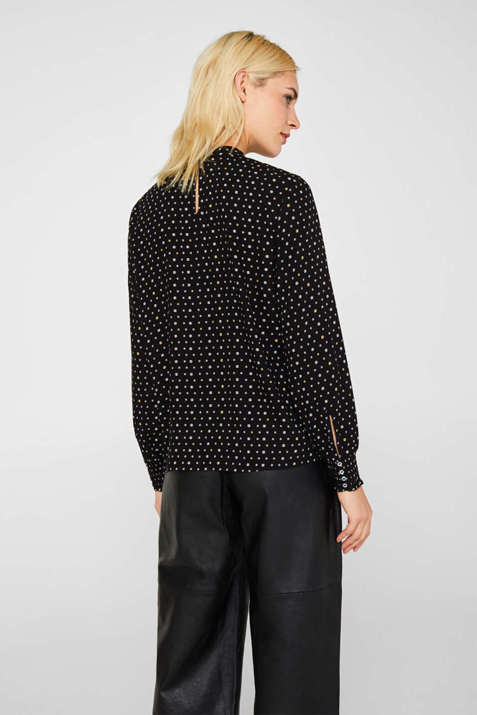 Printed blouse with smocked cuffs, BLACK, detail image number 3