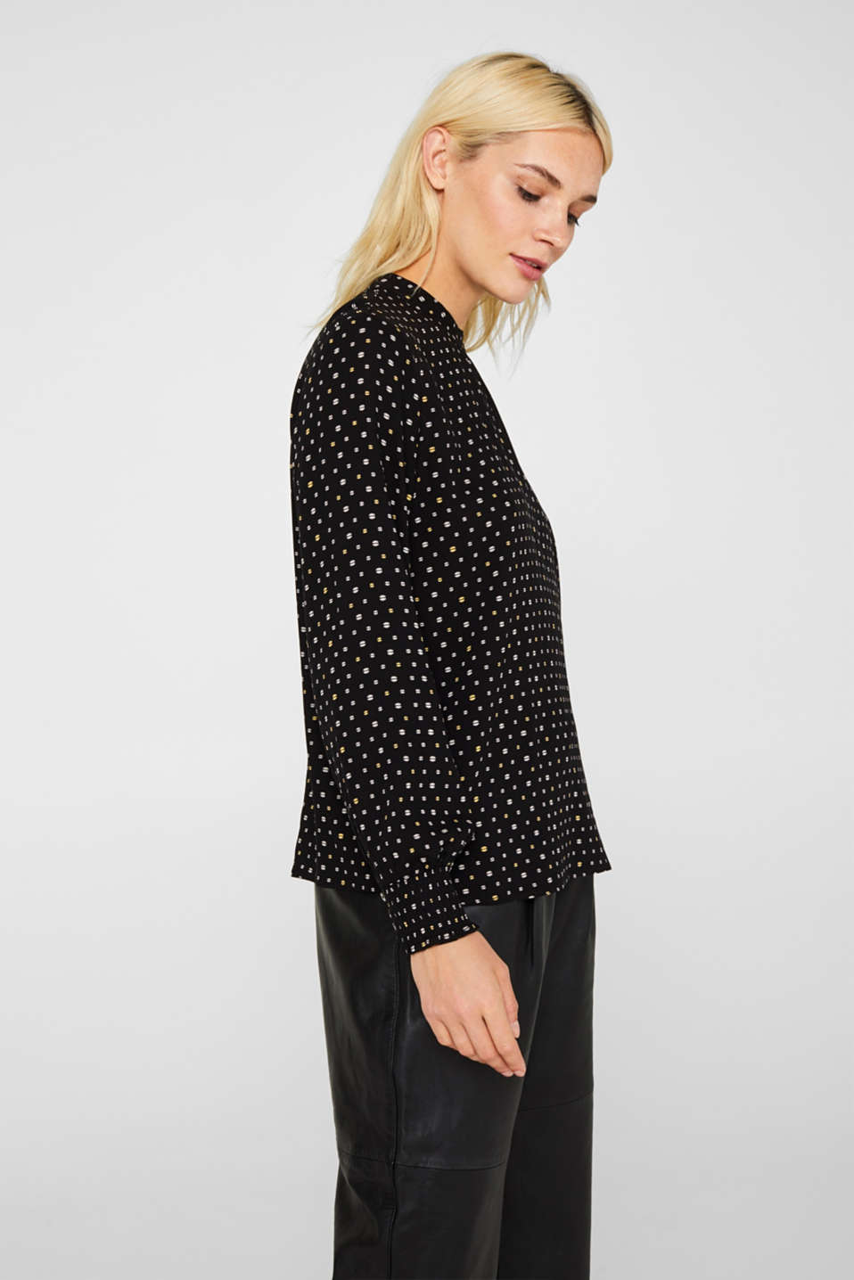 Printed blouse with smocked cuffs, BLACK, detail image number 6