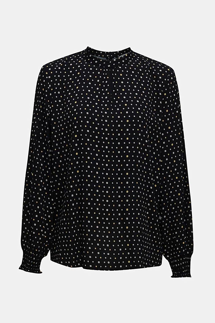 Print-Bluse mit Smok-Bündchen, BLACK, detail image number 0