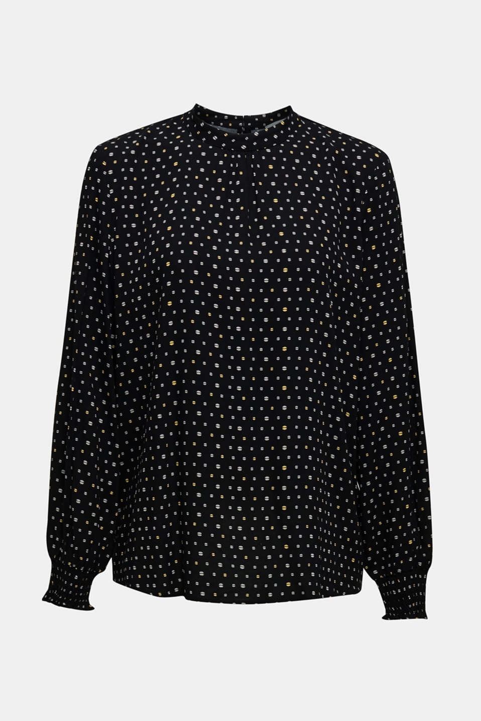 Printed blouse with smocked cuffs, BLACK, detail image number 7