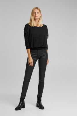 Blouse in a layered look, BLACK, detail