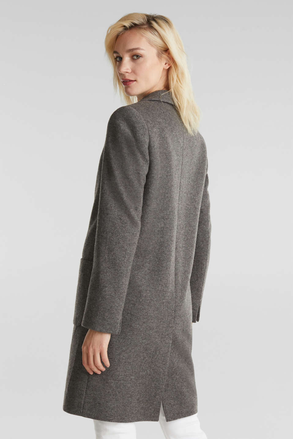 Made of blended wool: Coat in a knit look, DARK GREY 5, detail image number 3