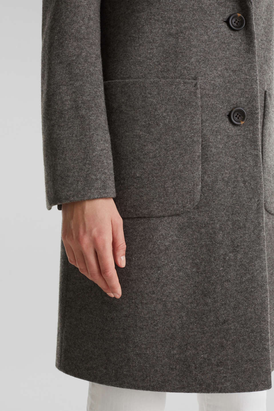 Made of blended wool: Coat in a knit look, DARK GREY 5, detail image number 2