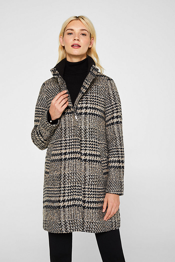 Houndstooth coat with a knit collar, BLACK, detail image number 0