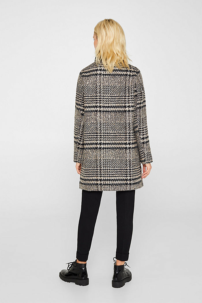 Houndstooth coat with a knit collar, BLACK, detail image number 3