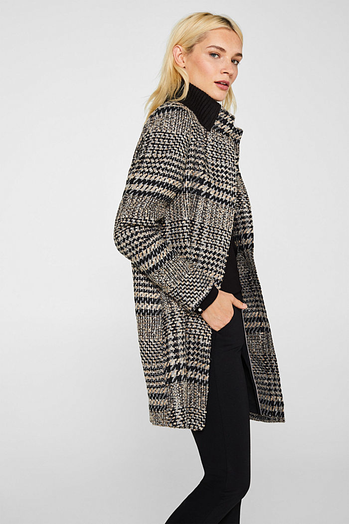 Houndstooth coat with a knit collar, BLACK, detail image number 5