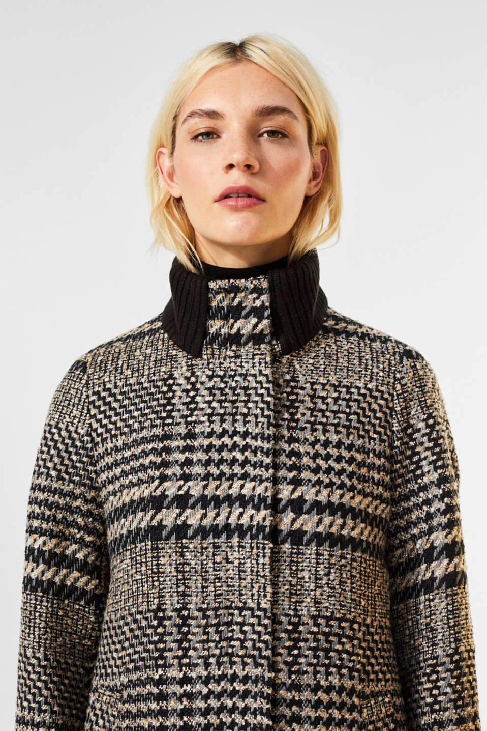 Houndstooth coat with a knit collar, BLACK, detail image number 2
