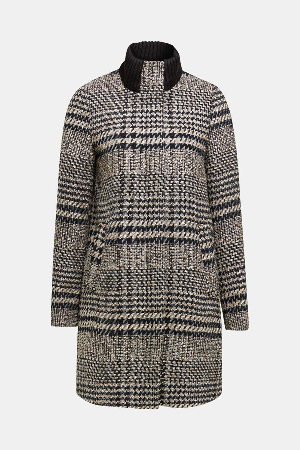 Houndstooth coat with a knit collar, BLACK, detail image number 6