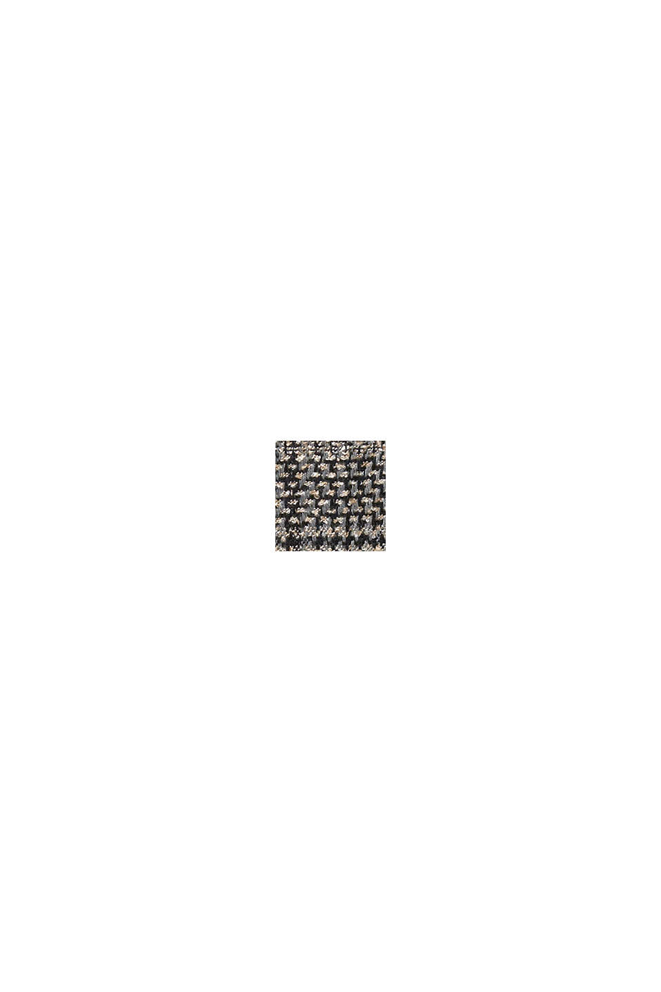 Houndstooth coat with a knit collar, BLACK, swatch