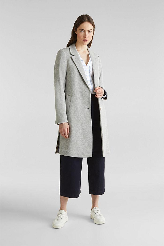 Blazer coat made of jersey, LIGHT GREY, detail image number 0