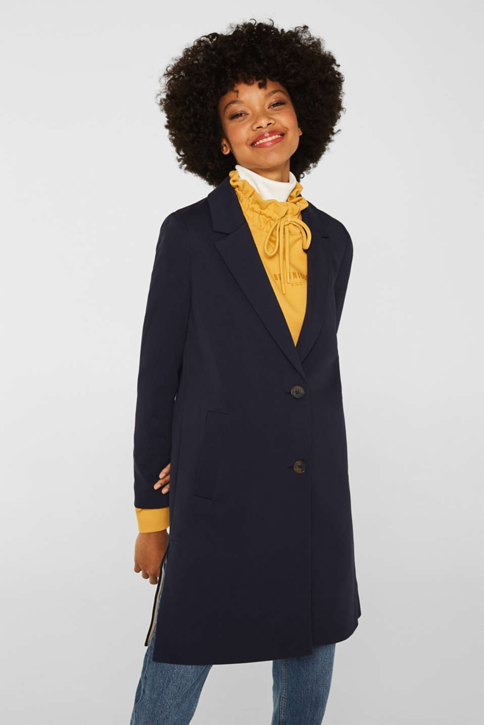 Blazer coat made of jersey, NAVY, detail image number 0