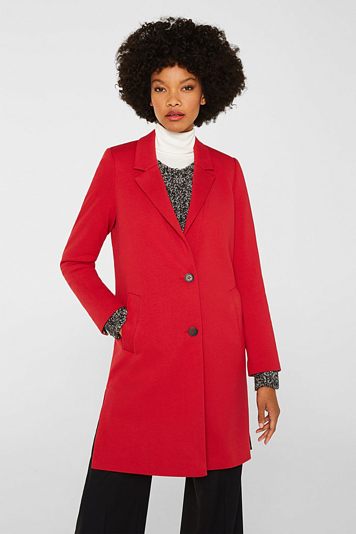 Blazer coat made of jersey, DARK RED, detail image number 0