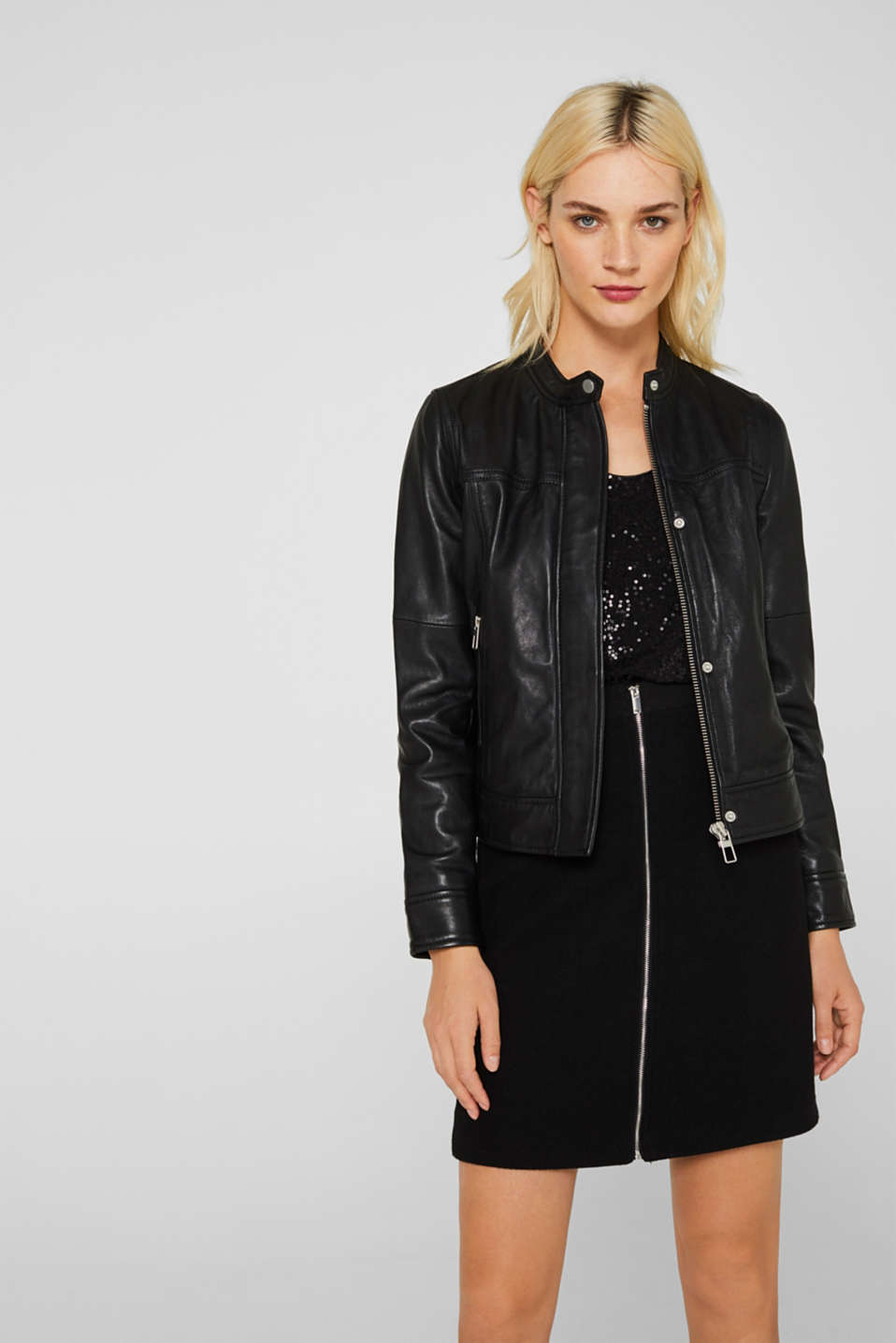 Jackets outdoor leather, BLACK, detail image number 0