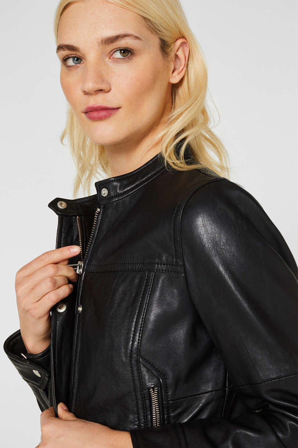 Jackets outdoor leather, BLACK, detail image number 2
