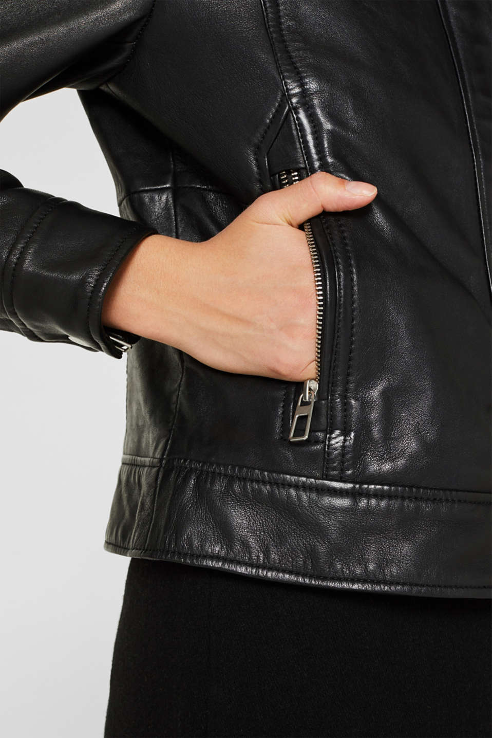 Jackets outdoor leather, BLACK, detail image number 4