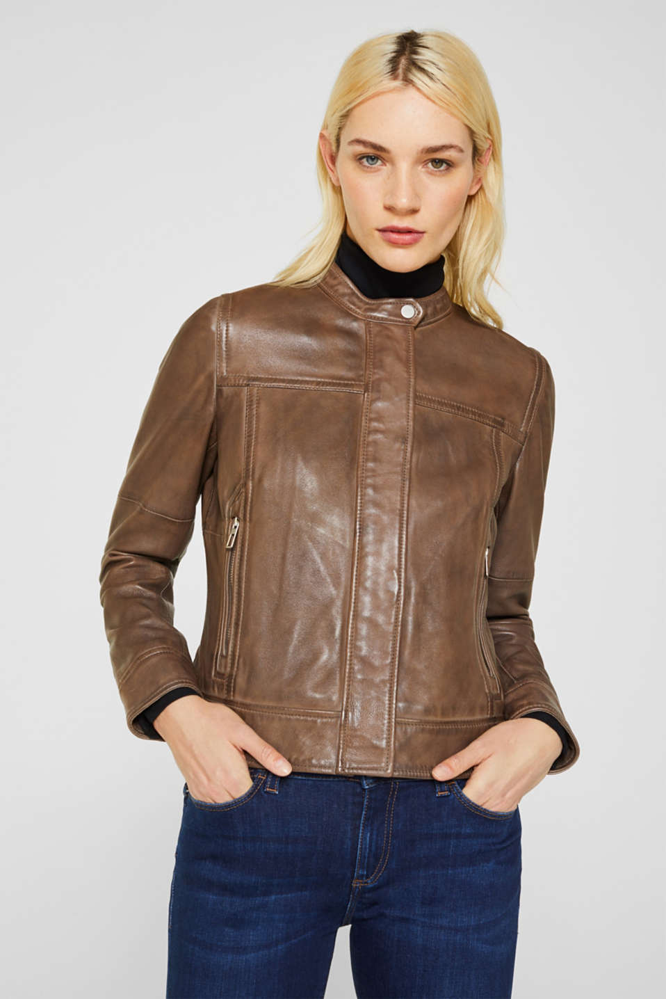 Jackets outdoor leather, TAUPE, detail image number 0