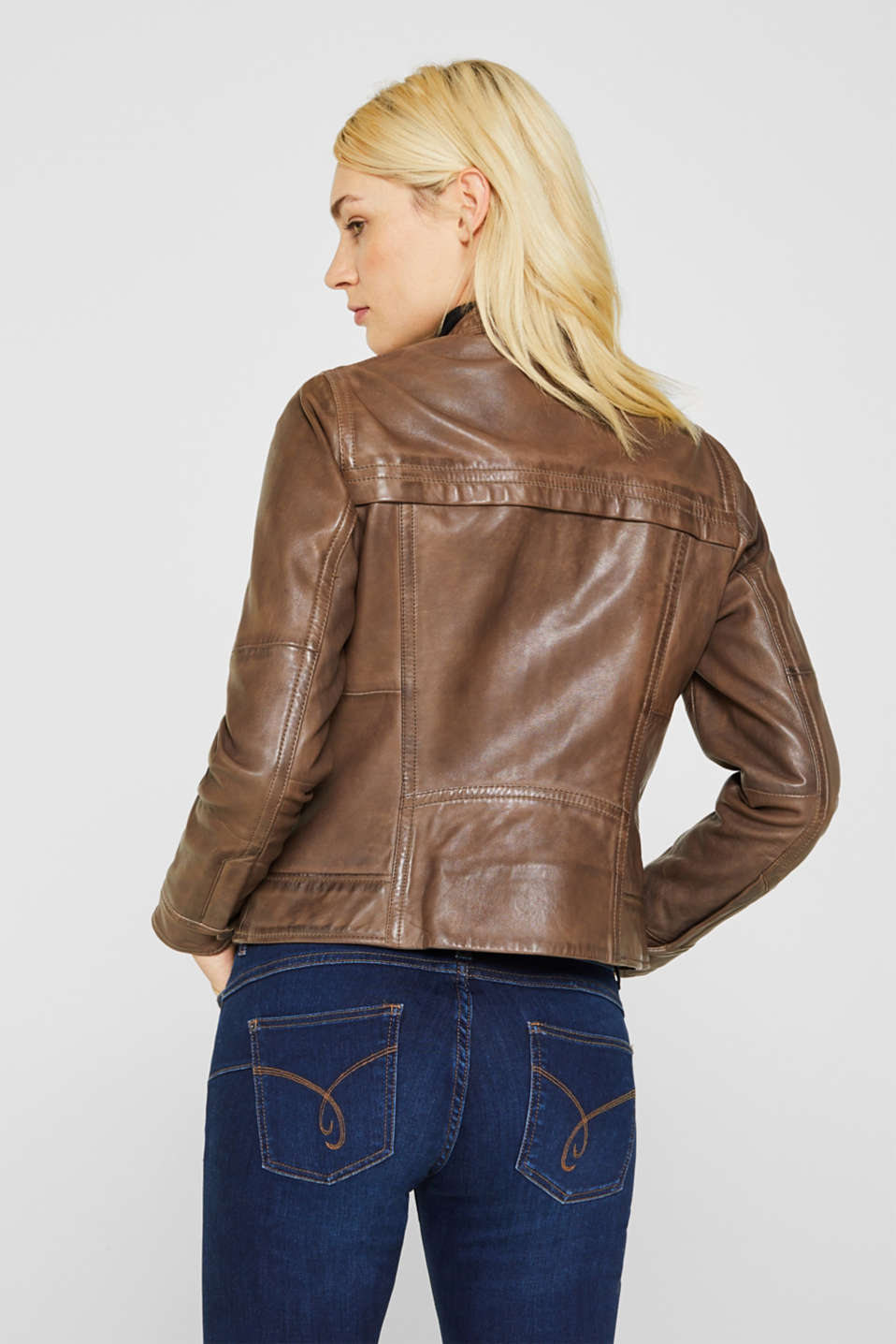 Jackets outdoor leather, TAUPE, detail image number 2