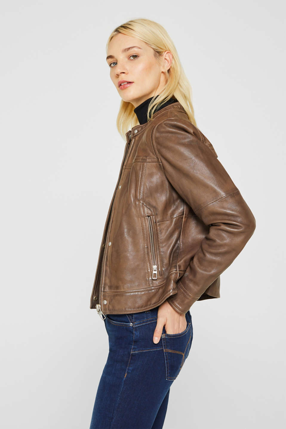 Jackets outdoor leather, TAUPE, detail image number 4