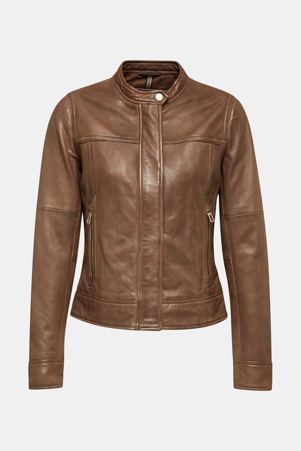 Jackets outdoor leather, TAUPE, detail image number 6
