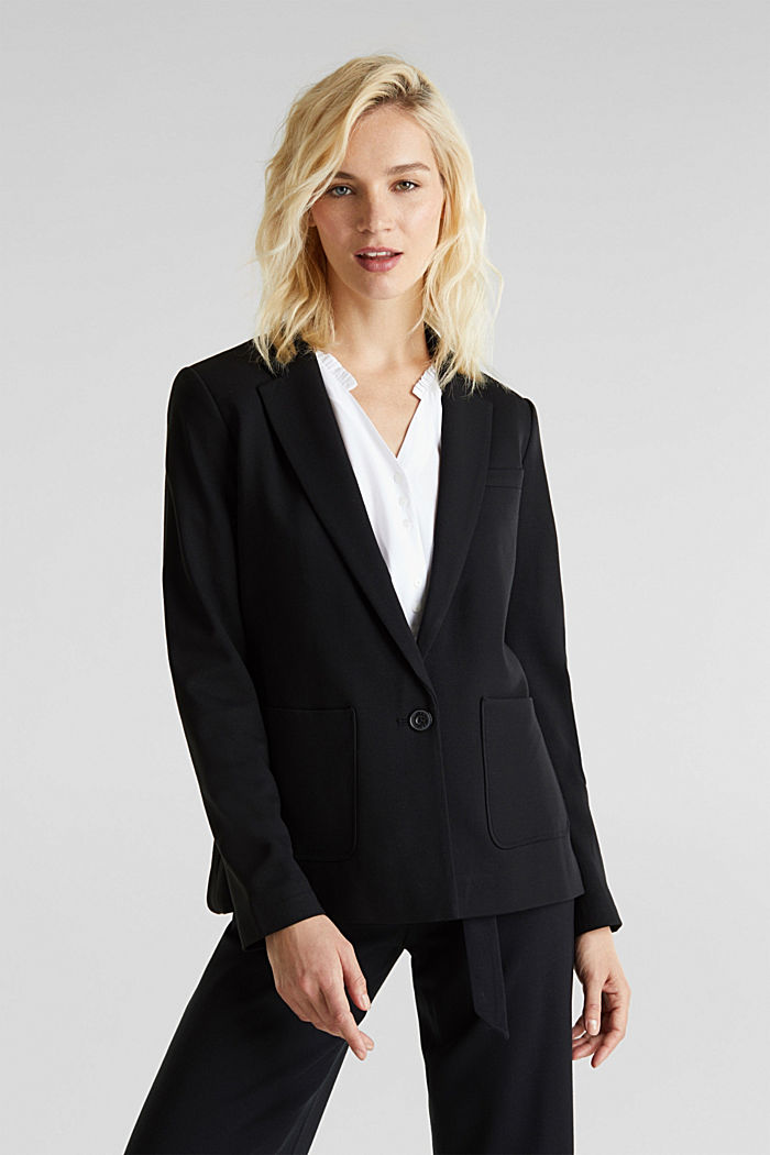 Stretch jersey blazer with pockets, BLACK, detail image number 0