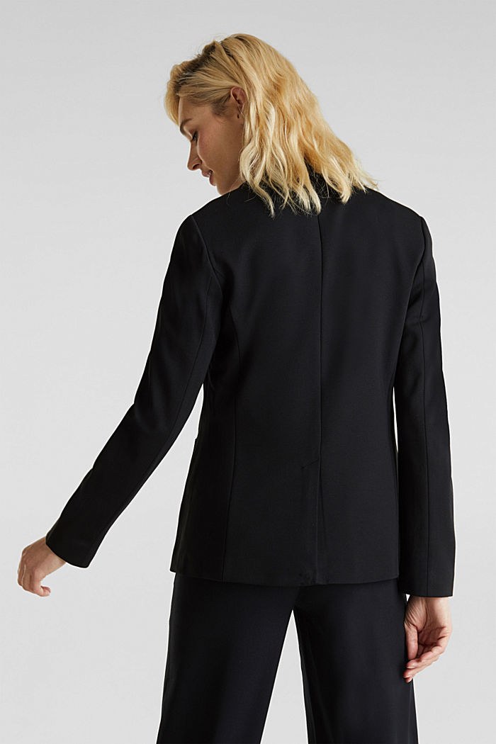 Stretch jersey blazer with pockets, BLACK, detail image number 3