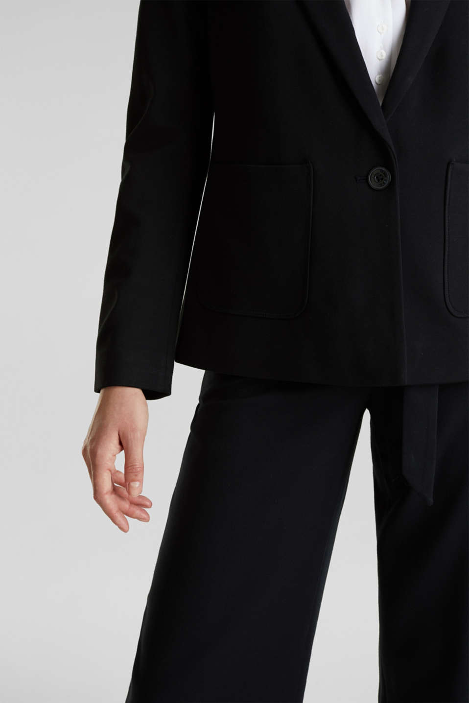 Stretch jersey blazer with pockets, BLACK, detail image number 2