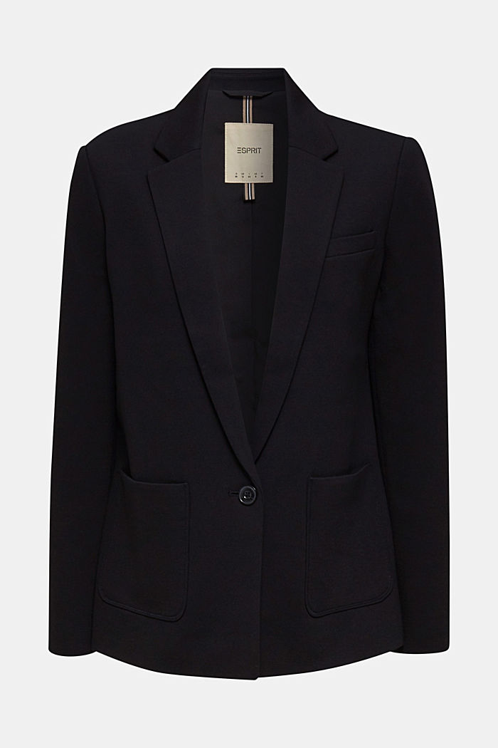 Stretch jersey blazer with pockets, BLACK, detail image number 6