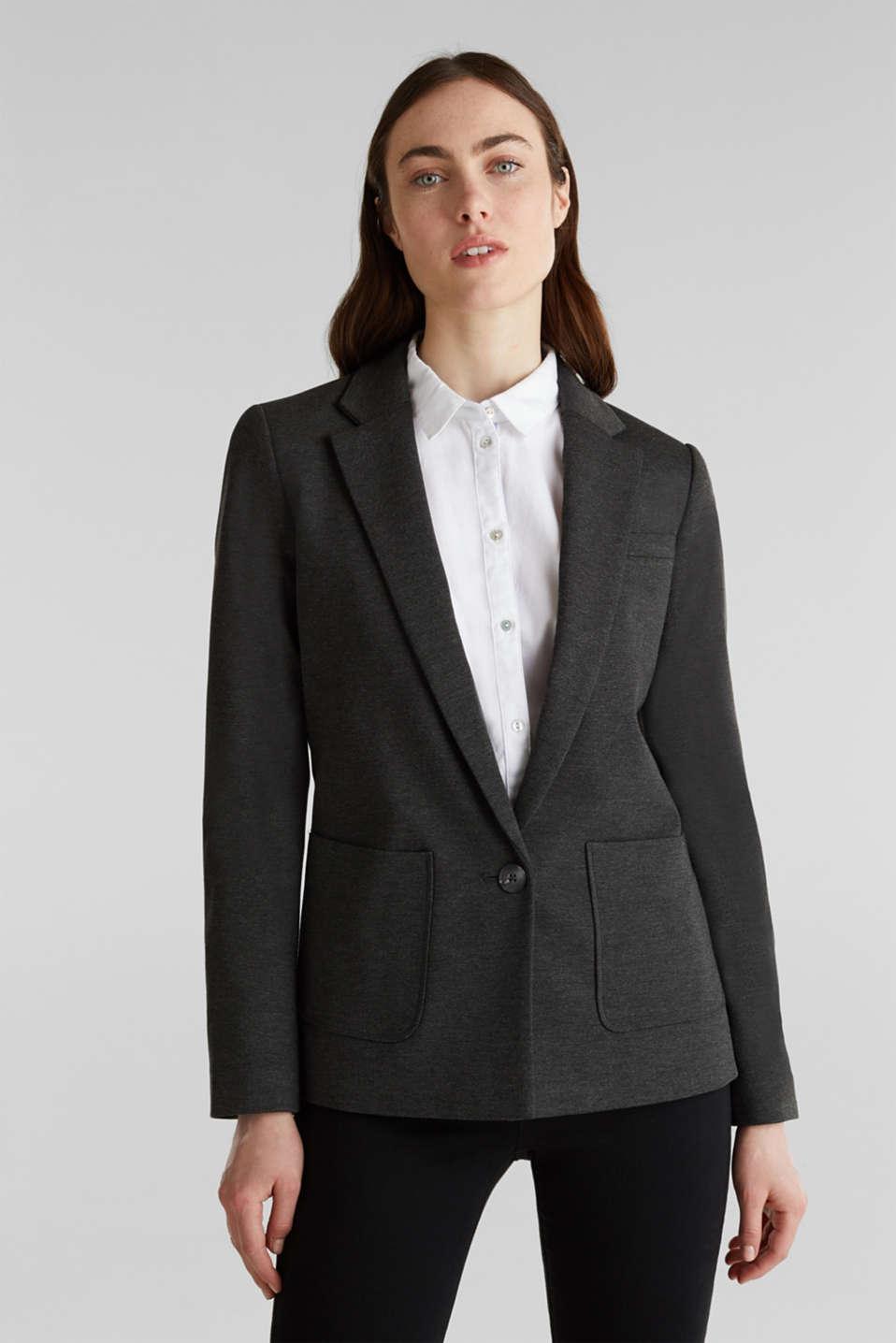 Stretch jersey blazer with pockets, DARK GREY, detail image number 0