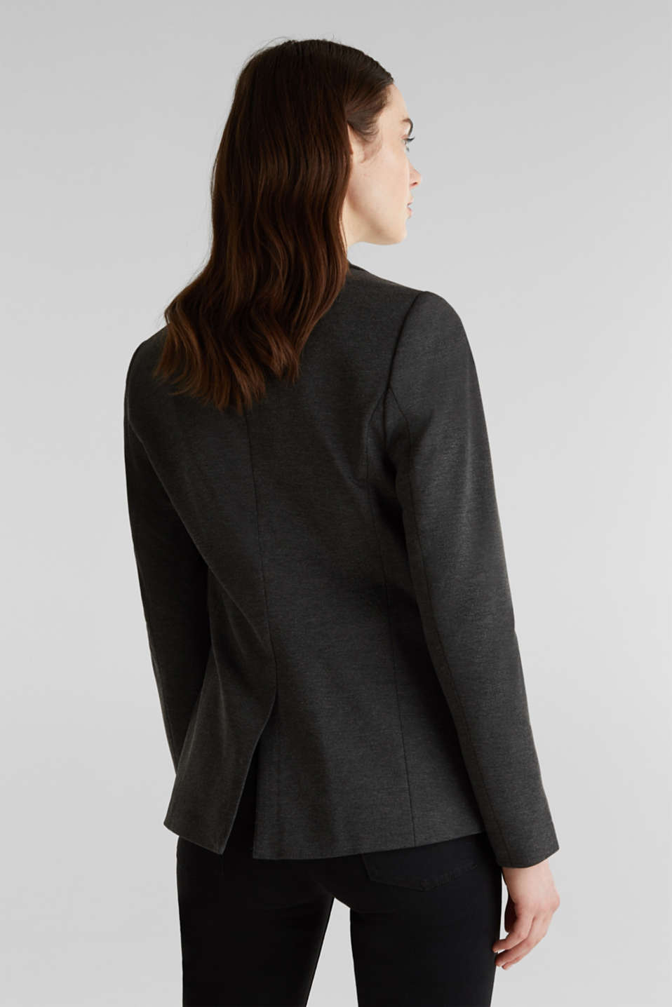 Stretch jersey blazer with pockets, DARK GREY, detail image number 3