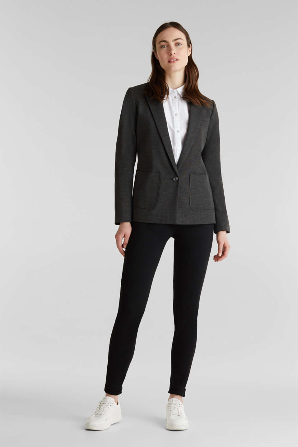 Stretch jersey blazer with pockets, DARK GREY, detail image number 1