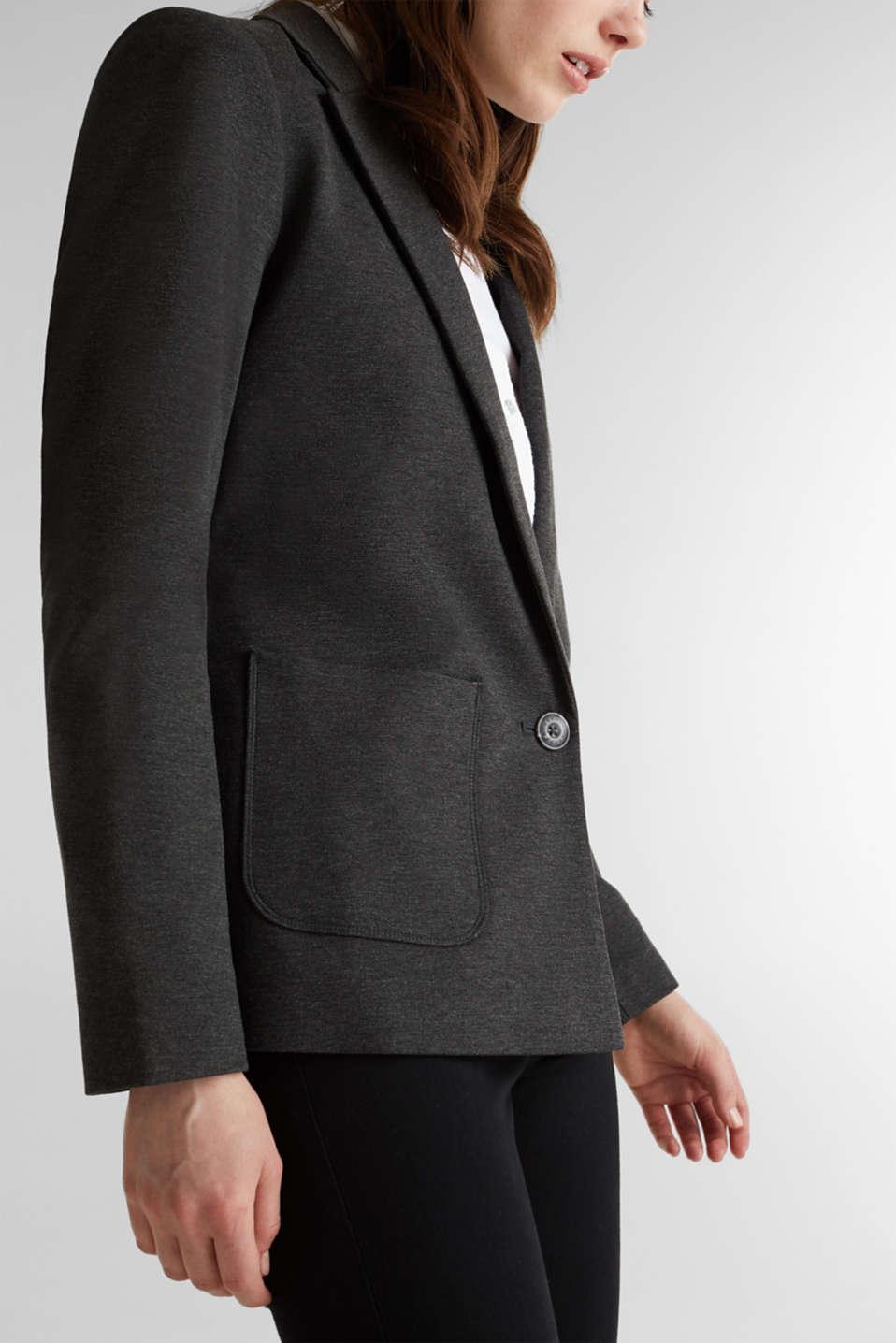 Stretch jersey blazer with pockets, DARK GREY, detail image number 2