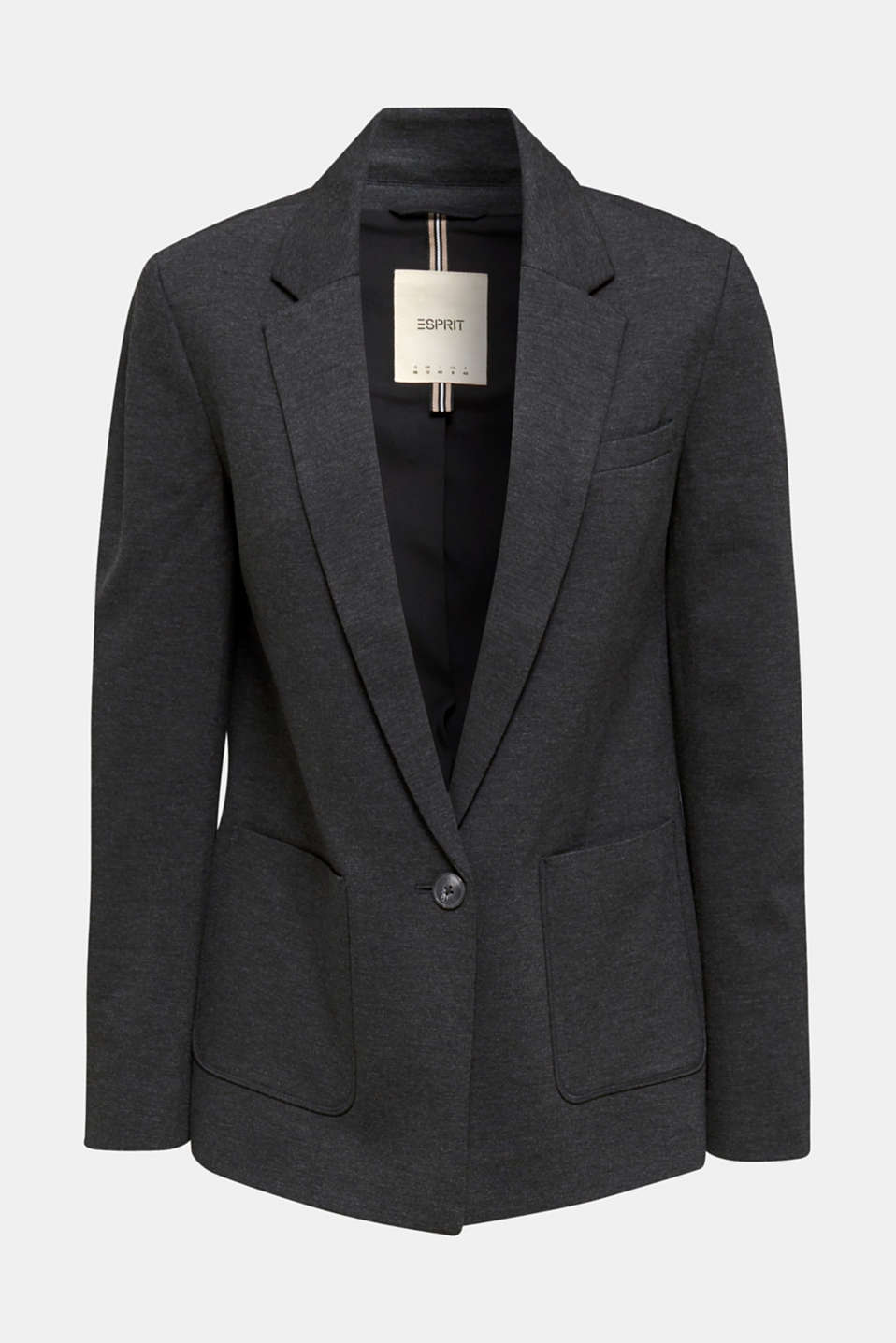 Stretch jersey blazer with pockets, DARK GREY, detail image number 6