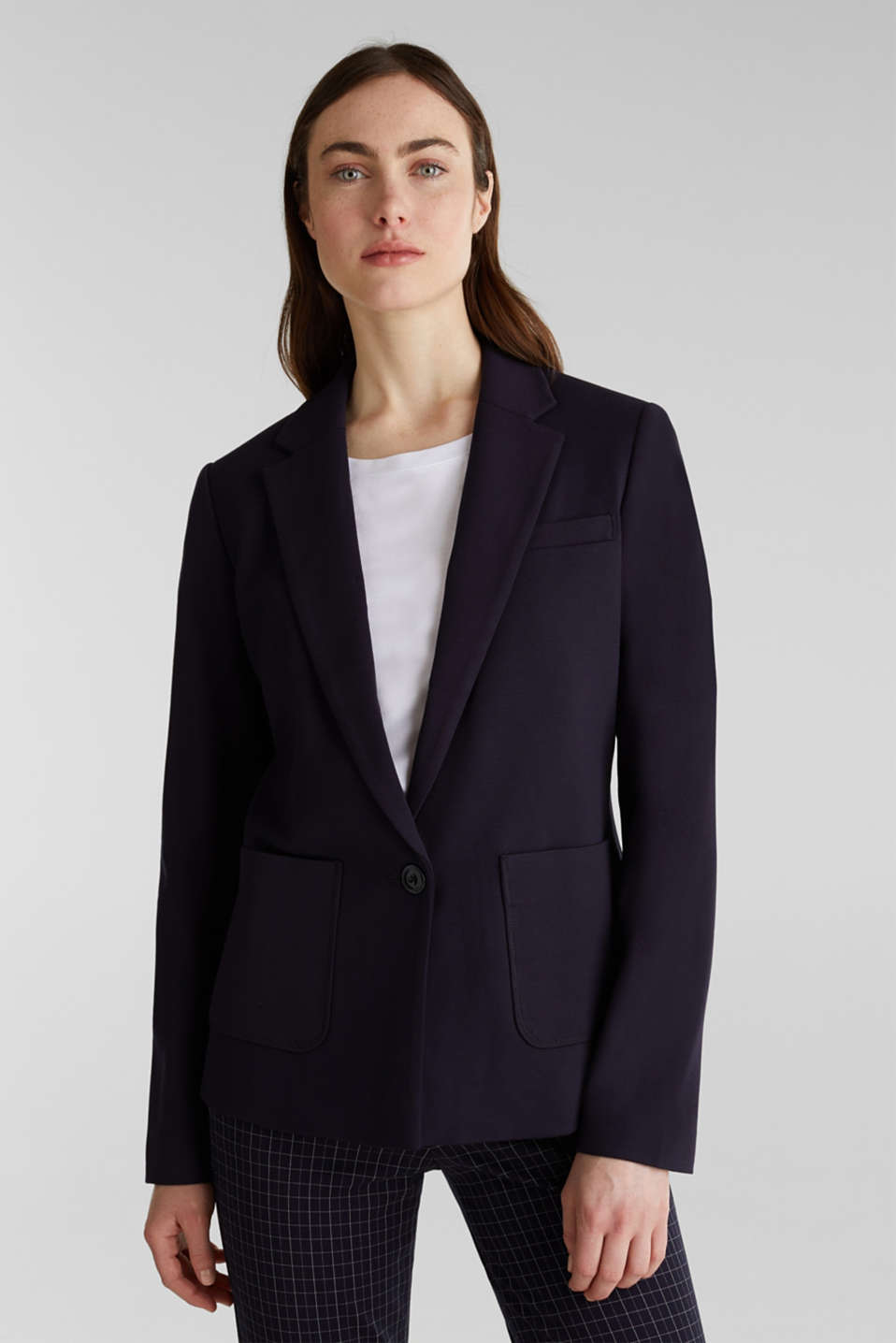 Stretch jersey blazer with pockets, NAVY, detail image number 3